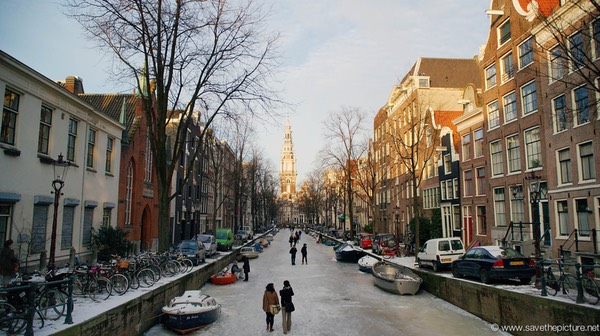 Amsterdam frozen canals church