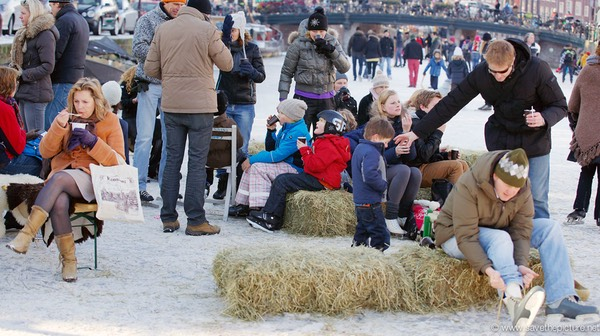 Amsterdam frozen canals, farm seats