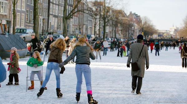 Amsterdam frozen canals, friends