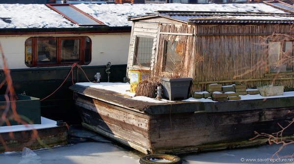 Amsterdam frozen canals, houseboat