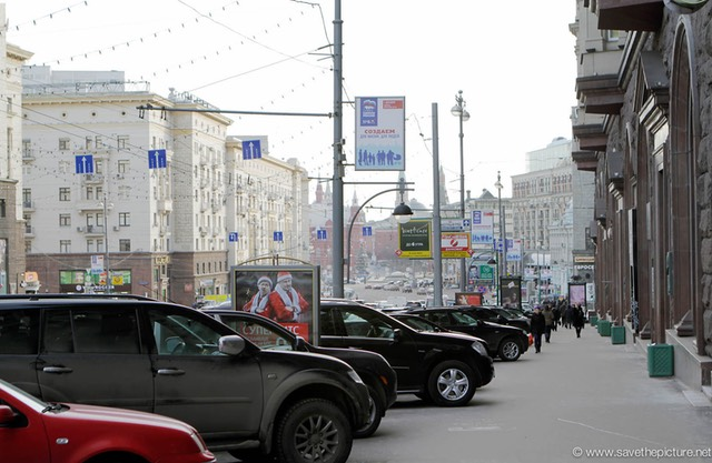 Moscow downtown sidewalk parking
