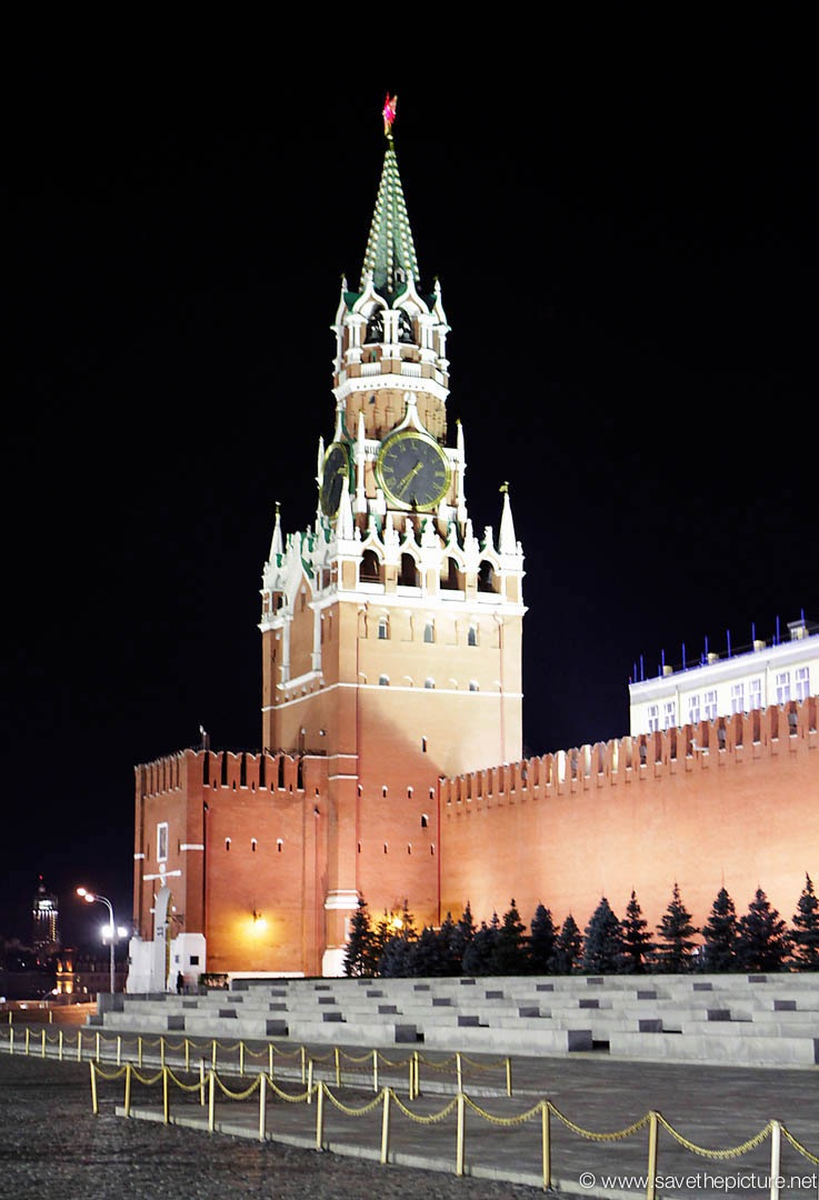 Moscow red square Kremlin clock