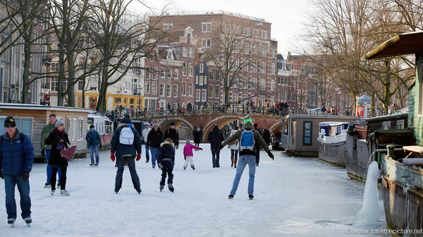 Amsterdam frozen canals, ice skating