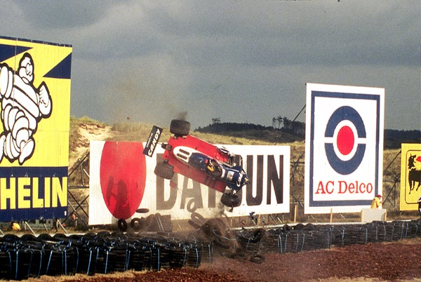 Crash Derek Day, Formula 1 car racing at Zandvoort Netherlands