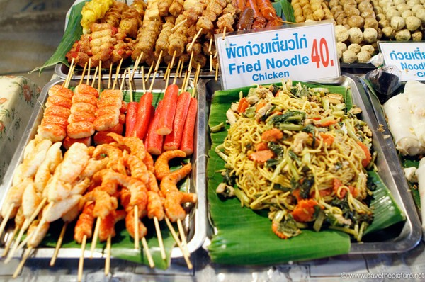 Fresh fried chicken noodles and seafood sticks