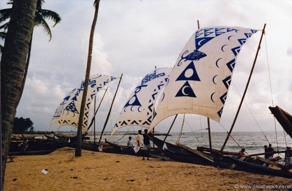 Sri Lanka catamaran art three white blue sails