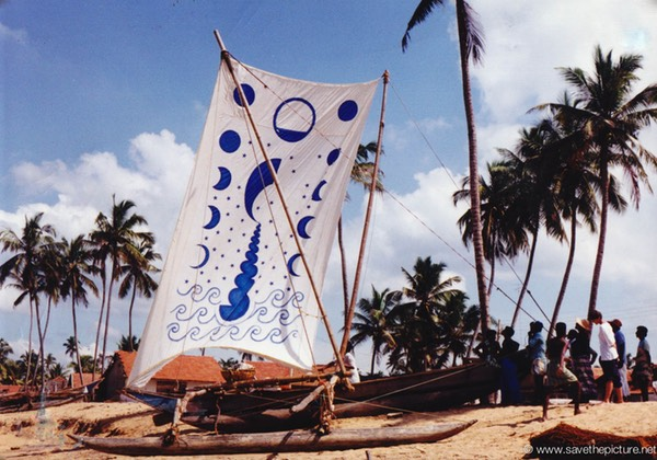 Sri Lanka catamaran art, proud fisherman